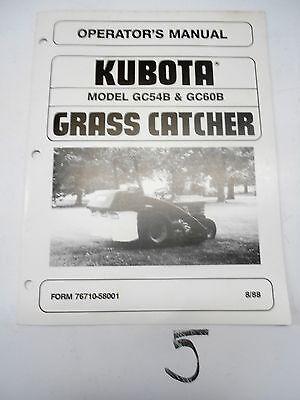 Kubota Gc54b Gc60b Grass Catcher Operators Manual Owners