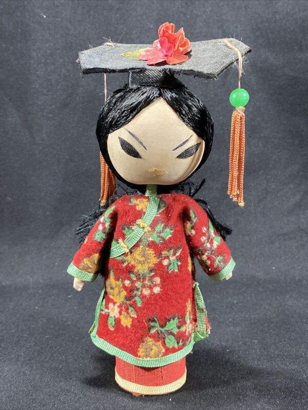 "Vintage Asian Doll Chinese - 6"" Wood And Cloth"