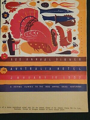 1937 Graphic Design Mock-up Menu, Atlantic Oil Co. Dinner, Modern Publicity