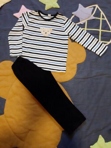 STEIFF 🐻 Nicki- Schlafanzug ☆Pyjama ☆ Gr. 110 ☆ Blau/Weiß/Schwarz ☆ sehr gut ☆