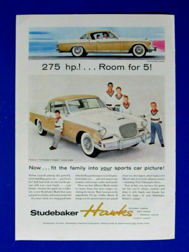 "1956 Studebaker Hawks Original Print Ad 8.5 x 11"""