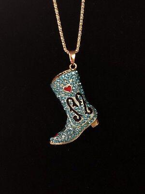 Betsey Johnson Necklace Cowboy Boot Gold Blue Crystals Gift Box Organza Bag Lk