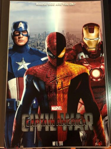 TOM HOLLAND SIGNED CAPTAIN AMERICA CIVIL WAR 12X18 POSTER PHOTO SPIDER-MAN AUTO3