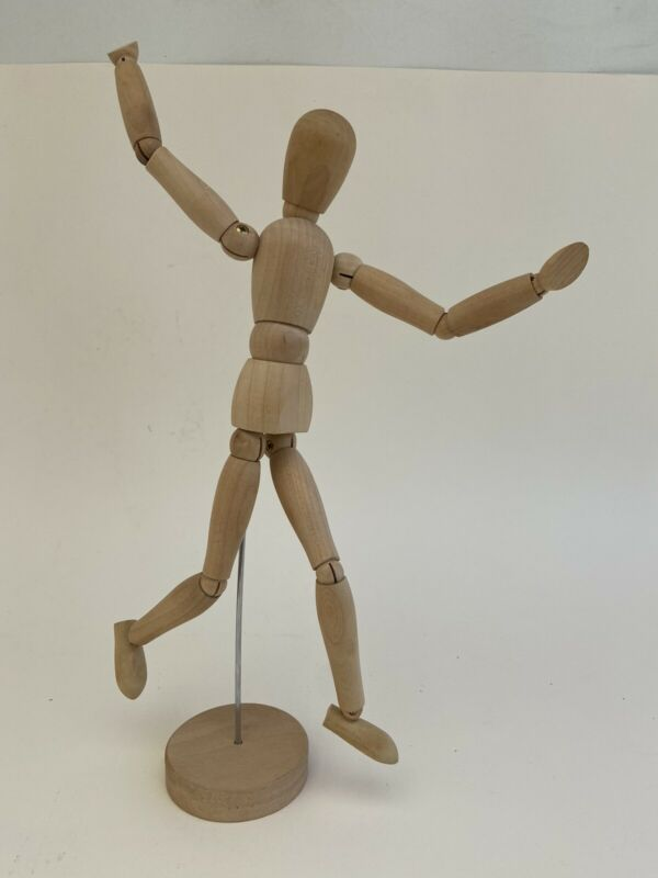 "Ikea Wood Figuerine Artist Mannequin Gestalta Solid Wood Posable Pedestal 13"""