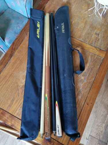 Pair Of Riley Two Piece Snooker Cues With Riley Carry Cases
