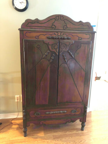 LX2058: Art Deco Wood Armoire Linen Press Local Pickup