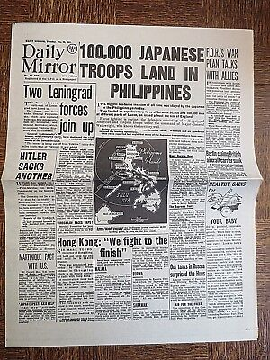 WW2 Newspaper December 23 1941 Japanese Troops Land in Philippines Daily MIRROR for sale  Shipping to Ireland