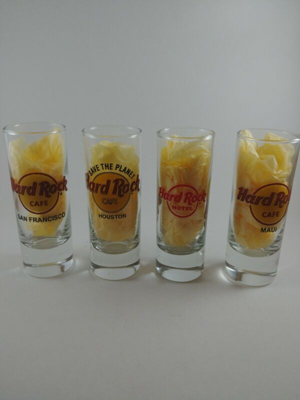 "Set of 4 Hard Rock Cafe Double Shot Glasses 4"" Tall Various Cities"