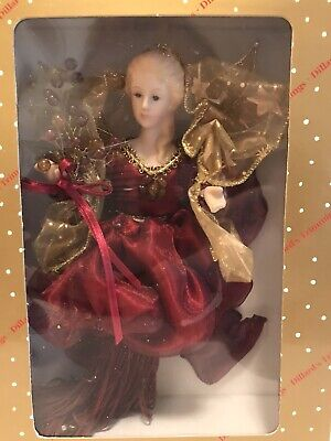 """Dillards Trimmings Christmas Angel Tree Topper Ornament Victorian Fabric 10"""""""