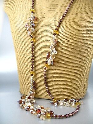 Long Color Crystal Beaded Fashion Necklace Earrings Set Costume Women Jewelry ()