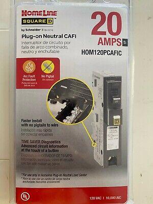 Square D Hom120pcafic Homeline Plug-on Neutral 20 Amp Single-pole Cafci Circuit