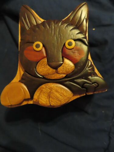 Wooden Inlay Cat Puzzle Box Brand New in Box