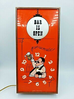 Vintage BAR IS OPEN Bartender Spartus Wall Clock Beer Sign w/Light Works but TLC