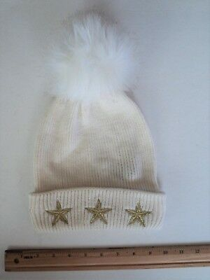Cheap Winter Hats (MADDEN Cold Winter Stocking Hat Style Beanie Ivory White Gold Stars - FLASH)