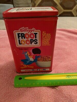 Vintage FROOT LOOPS TIN, Kellogg's Cereal, 1984, Good Condition, Toucan Sam
