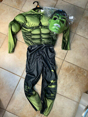 MARVEL AVENGERS NEW NWT HULK HALLOWEEN COSTUME JUMPSUIT MASK LARGE PADDED](Halloween Hulk Costumes)