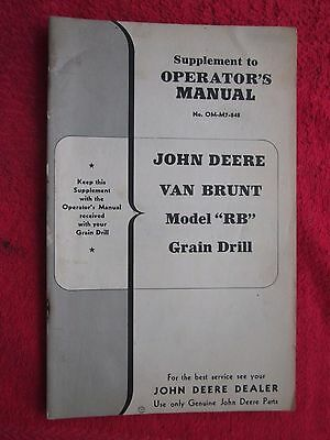 Original John Deere Van Brunt Grain Drill Mod Rb Operators Pts Manual Supplement