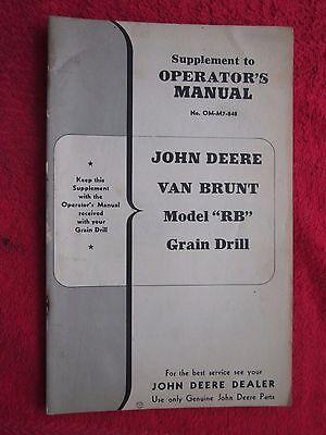 Original John Deere Van Brunt Grain Drill Mod Rb Operators Pts Manual Supplement