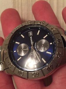 Men's Stainless Steel Blue Fossil Watch