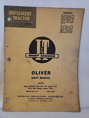 Oliver 99 950 990 995 770 880 Tractor It Service Manual