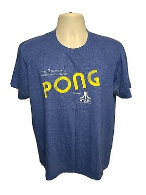 2012 Atari Pong Video Game Adult Medium Blue TShirt