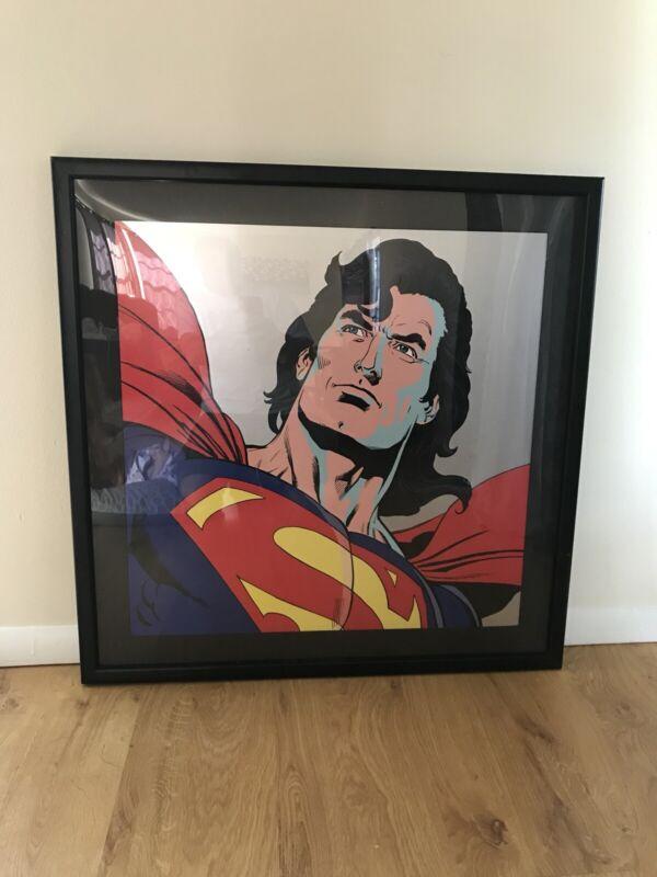 SUPERMAN LARGE FRAMED LITHOGRAPH 1997 WARNER BROTHERS STUDIO STORE LTD TO 350