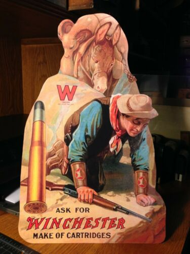 REPRO Winchester Hunter & Mule Standing Advertising  Die Cut