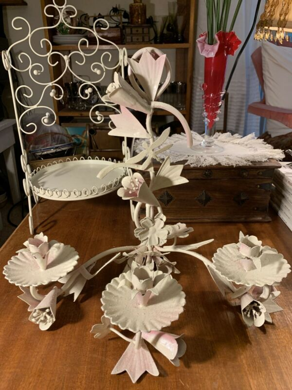 White+Soft Pink Flowers Shabby Chic~Paris Apt Tole  Candelabra~Hanging~Tabletop