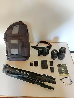Canon EOS 70D 20.2MP Digital SLR Camera w/ 2 lenses, tripod, camera bag