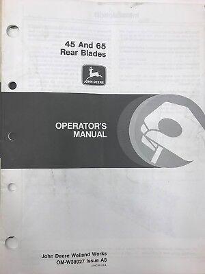 John Deere Operators Manual 45 65 Rear Blades Omw38927 Used