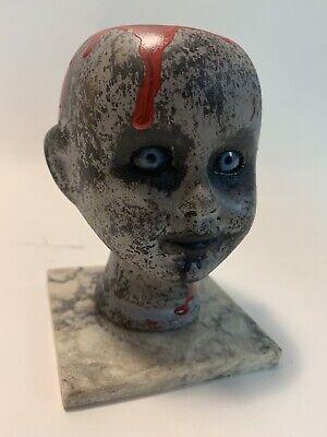 Demon Baby Halloween Prop (Hand-painted Porcelain Bisque Creepy Doll Head Halloween Prop Demon Baby)