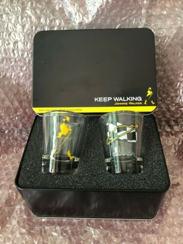 Johnnie Walker Authentic 2x SHOT Glasses set in TIN CASE box Montreal 2006