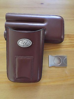 3 Finger Brown Leather Cigar Case With Stainless Steel Cutter Golf Club