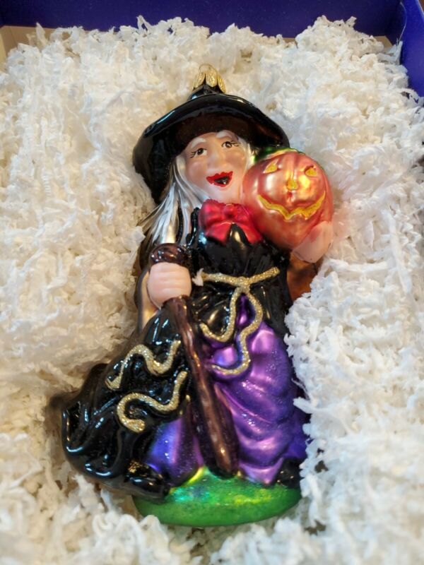 Komozja BLOWN GLASS Witch Polish Halloween Large Feather Tree Ornament
