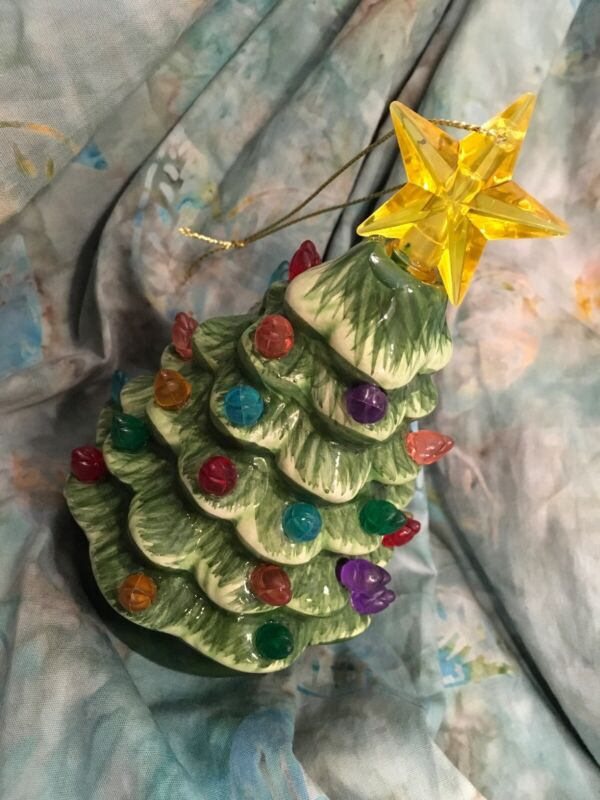 Mr Christmas Nostalgic Mini Ceramic Green Christmas Tree Ornament Light Up New