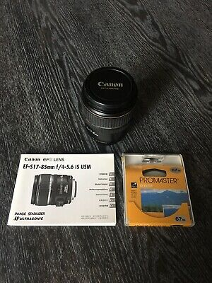 Canon EF-S 17-85mm f/4-5.6 IS USM Zoom Lens With UV Filter – Excellent Condition