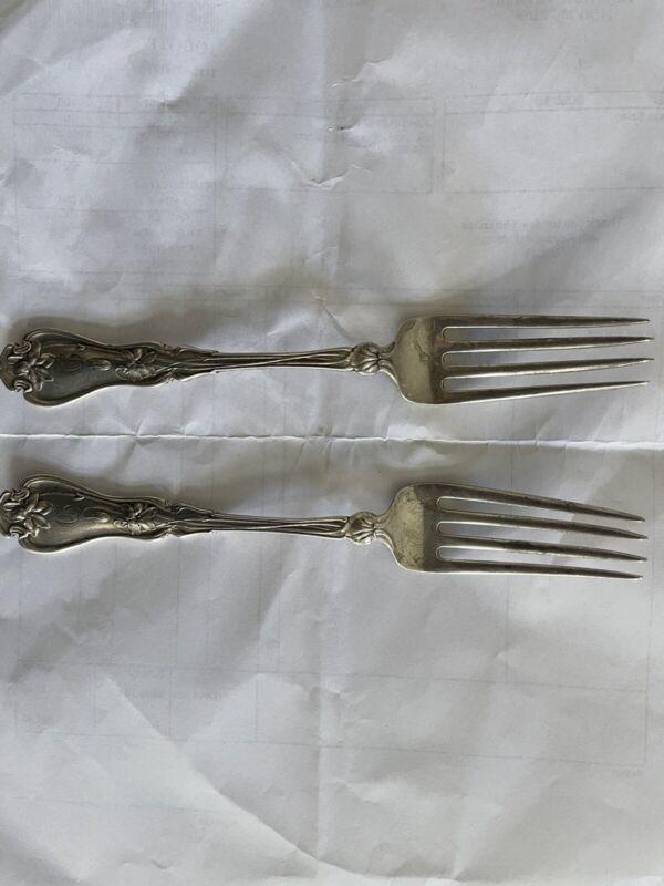 2 Sterling Silver Vintage Forks Daniel Lowe & Son 6 1/2 Inch 71 grams