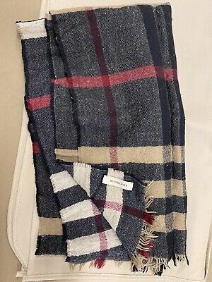BURBERRY Lightweight check wool scarf