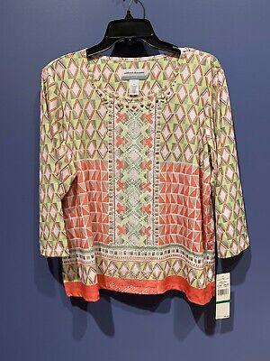 Womens PL Shirt, Summer Popover, Alfred Dunner, Peach, Green Embellished NWT - Peach Womens Shirt