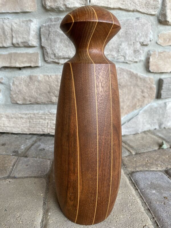 Arts & Crafts Mission Style Handcrafted Hand Turned Wood Vase Signed Dated