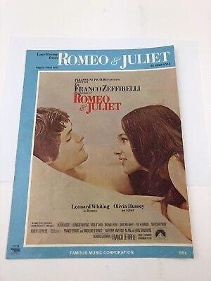 Vintage 1968 Romeo And Juliet Love Theme Sheet Music Nino Rota Zeffirelli (Nino Rota Romeo And Juliet Love Theme)