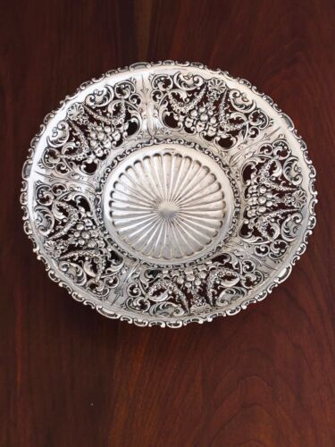 - WHITING STERLING SILVER OPENWORK FOOTED BOWL SHELL, FRUIT, FLORAL NO MONOGRAM