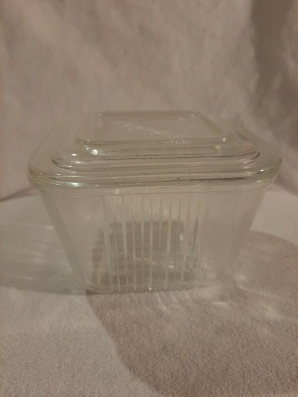 Vintage Federal Glass Clear Ribbed Refrigerator Square Dish Container & Lid