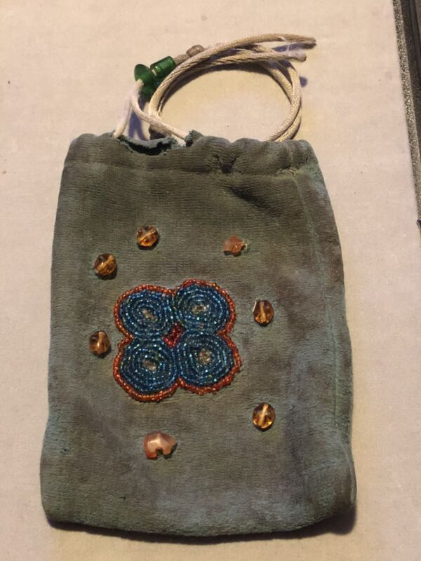 Vintage native American tobacco Pouch Beaded Bear Cross