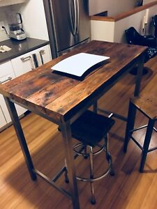 KITCHEN BAR ISLAND VINTAGE RECLAIMED WOOD STAINLESS STEEL