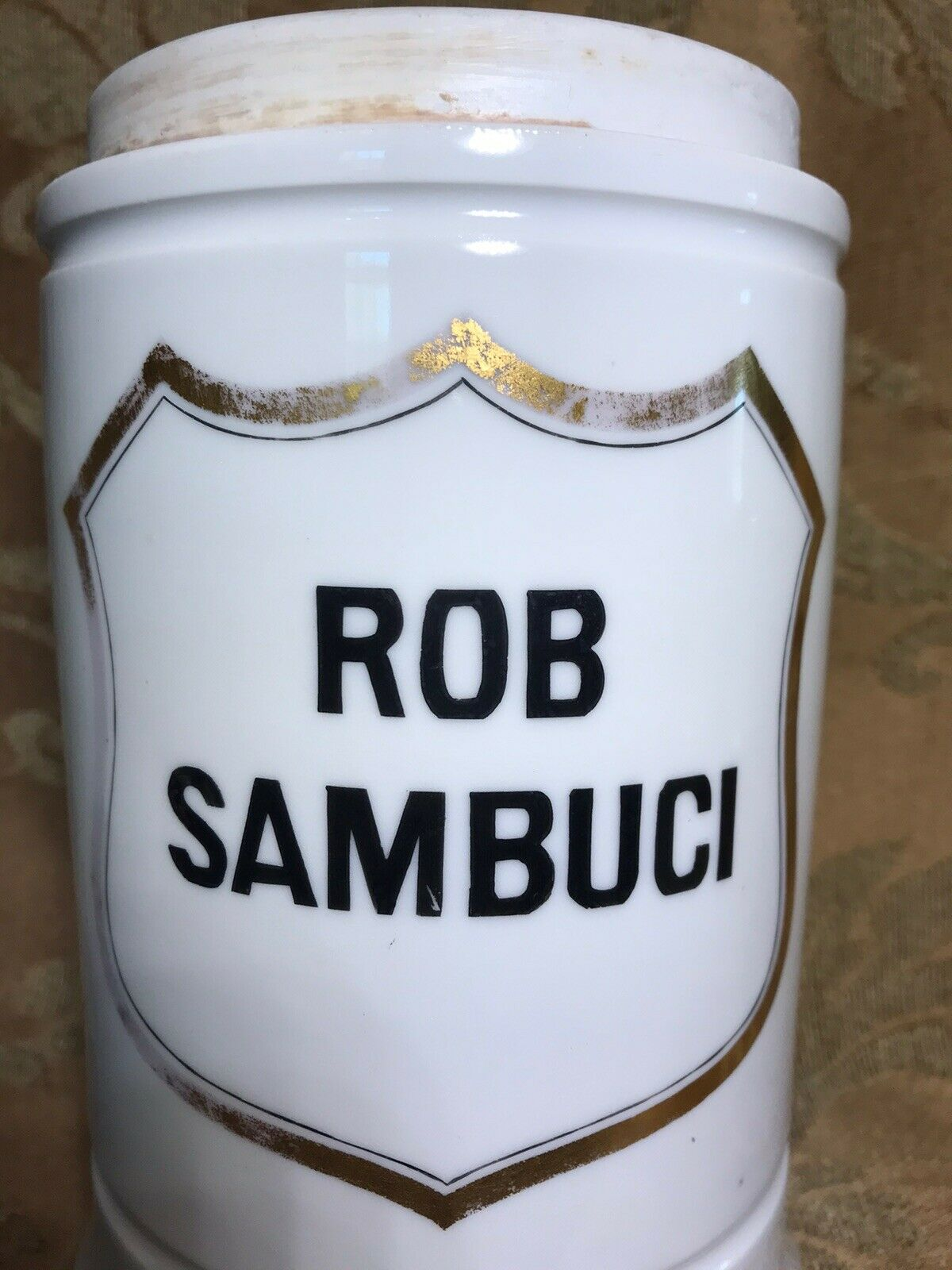7 GERMAN Apothecary Porcelain Ointment Jar With Lid Label ROB SAMBUCI  - $35.00