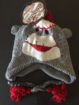 *NEW-The Original Gray Sock Monkey Hat w/Attached Tags