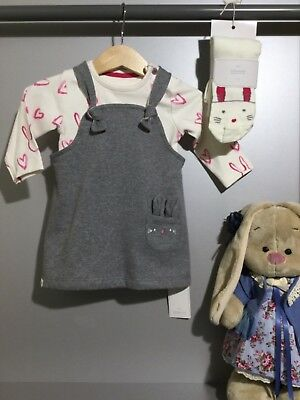 3tlg Trägerkleid Body Strumpfhose Hase Ostern Outfit Englandmode - Baby Ostern Outfits
