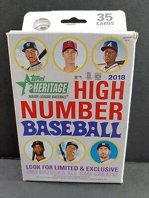 2018 Topps HERITAGE HIGH NUMBER Series Baseball Sealed Hanger Box of 35 Cards