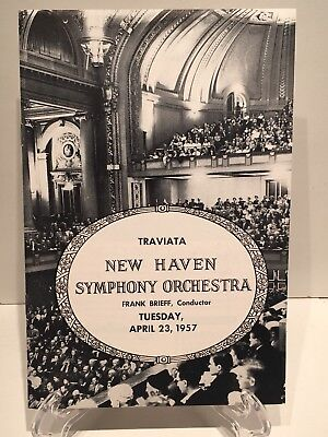 Vintage New Haven Symphony Orchestra Program: Verdi's La Traviata, April 23,1957